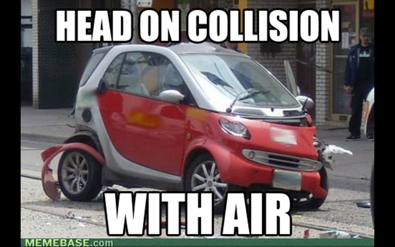 smart car air collision meme