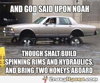 big flood car giant rims meme